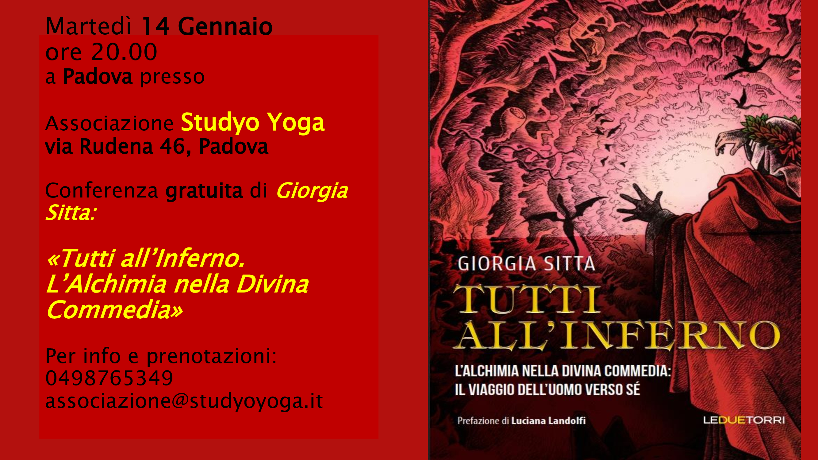 """Padova. """"Tutti all'inferno. L'Alchimia nella Divina Commedia"""""""